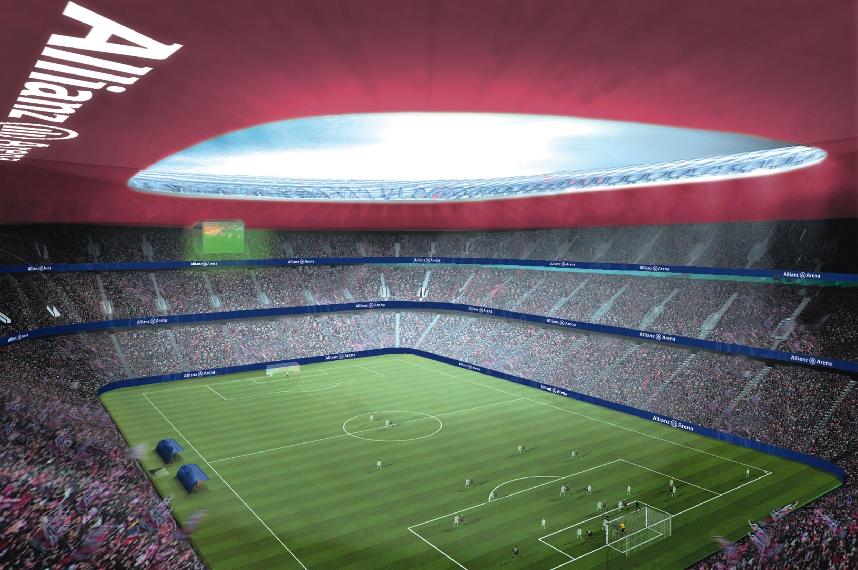 fußballstadion von innen